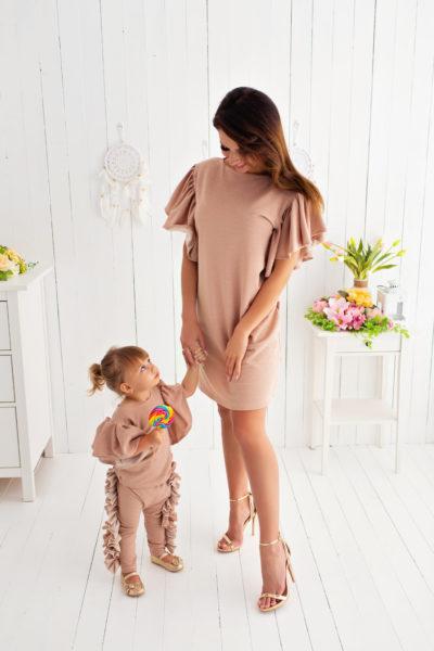 thumbnail Sukienka FIORA różowa ze złotą nitką dla mamy